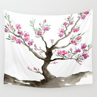 sakura Wall Tapestries featuring Sakura by Brazen Edwards