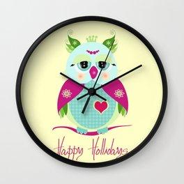 Purple Owl Wall Clock