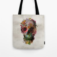 blue Tote Bags featuring SKULL 2 by Ali GULEC
