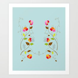 Climbing Floral Vine on Light Cyan Art Print