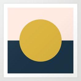 Horizon. Mustard Yellow Sun Dot on Pale Blush Pink and Navy Blue Color Block. Minimalist Geometric Art Print