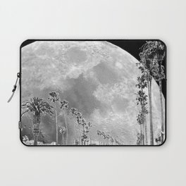 California Dream // Fantasy Moon Beach Sidewalk Black and White Palm Tree Silhouette Collage Artwork Laptop Sleeve