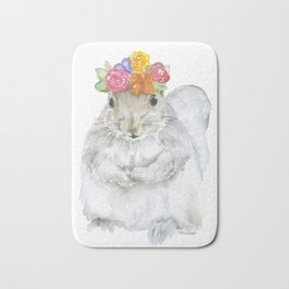 Gray Squirrel with a Floral Crown Watercolor Bath Mat