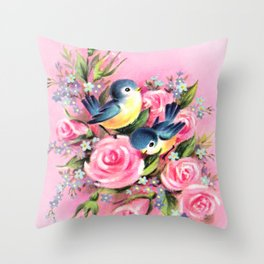 Spring Birds & Roses Throw Pillow