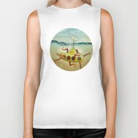 yellow submarine Biker Tanks featuring yellow submarine in an octapuses garden by Vin Zzep