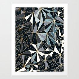 Stylish Art Deco Geometric Pattern - Black, blue, Gold #abstract #pattern Art Print