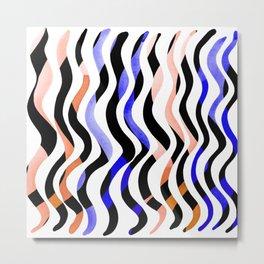 Wavy lines - orange, blue and black Metal Print