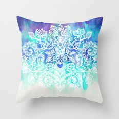 Indigo & Aqua Abstract - doodle painting Throw Pillow
