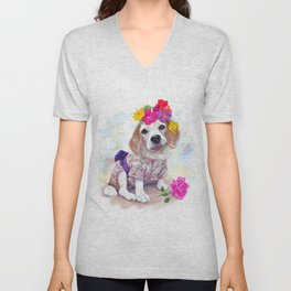 Adorable beagle wear cute costumes, japan style, and chaplet Unisex V-Neck