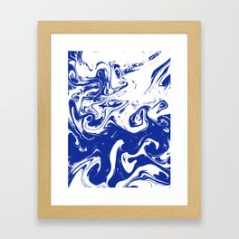 Marble blue 4 Suminagashi watercolor pattern art pisces water wave ocean minimal design Framed Art Print