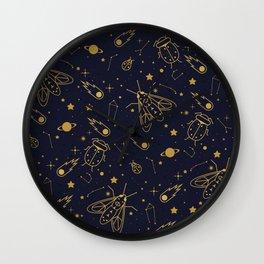 Golden Celestial Bugs Wall Clock