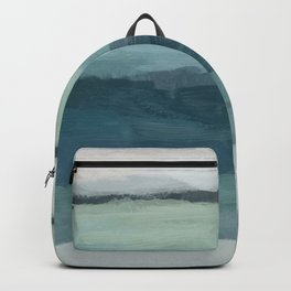 Seafoam Green Mint Navy Blue Abstract Ocean Art Painting Backpack