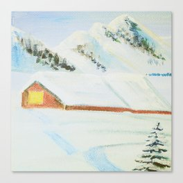 winter. house with tree Canvas Print