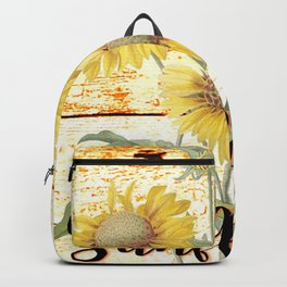Country Sunflowers on wood Backpack