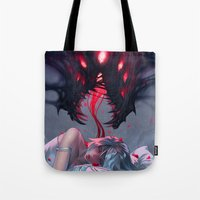 nightmare Tote Bags featuring Nightmare by Team Ronin
