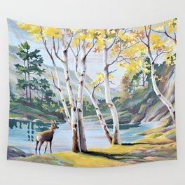 Paint by Numbers Deer Woodland Scene Wall Tapestry