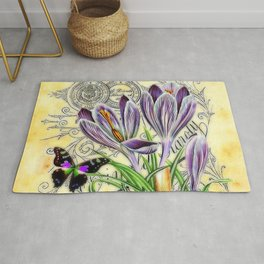 Crocus and butterfly Rug