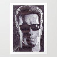 terminator Art Prints featuring Terminator by DeMoose_Art