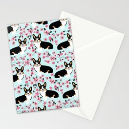 Welsh corgi tricolored cherry blossoms botanical florals japanese flowers dog breed corgis Stationery Cards