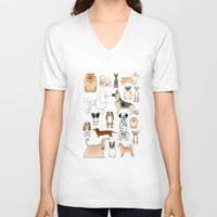 dogs V-neck T-shirts featuring Dogs by Rebecca Bennett