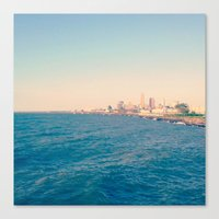 cleveland Canvas Prints featuring Cleveland Skyline  by Julia Blanchette