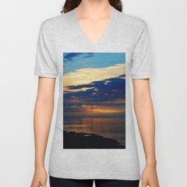 Blazing Sunset under Blue Sky Unisex V-Neck