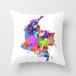 Colombia Map Throw Pillow