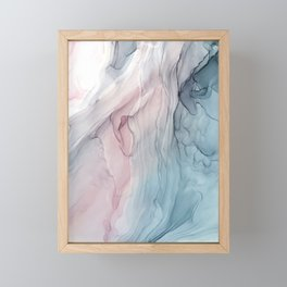 Calming Pastel Flow- Blush, grey and blue Framed Mini Art Print