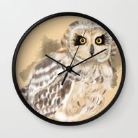 loish Wall Clocks featuring Short Eared Owl #2 by Visual Condyle