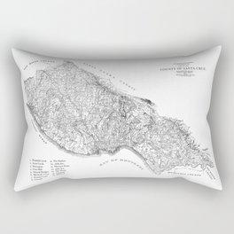 Santa Cruz Surf Map, 1938 Map featuring all the best surf spots! Surf Art & Home Decor Rectangular Pillow