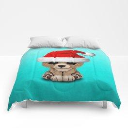 Christmas Bear Wearing a Santa Hat Comforters