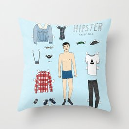 Hipster Paper Doll Throw Pillow