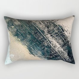 Honey 2: a pretty, minimal abstract mixed-media piece in blue, gold, and pink Rectangular Pillow