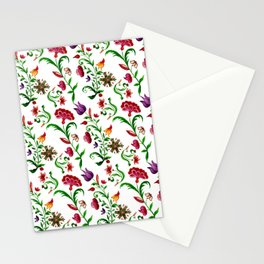 Bright seamless floral pattern on white background Stationery Cards