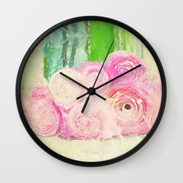 Pretty Pink Posies -- Abstract Painterly Floral with Ranunculus Stylized Wall Clock