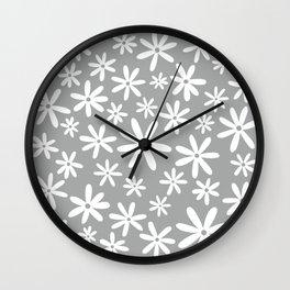 Tiare Flower - grey Wall Clock