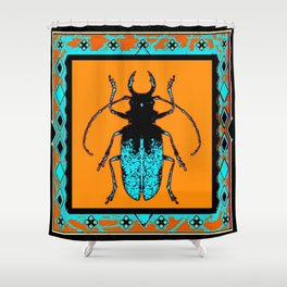 Black Turquoise Stag horn Beetle Western Art Abstract Shower Curtain