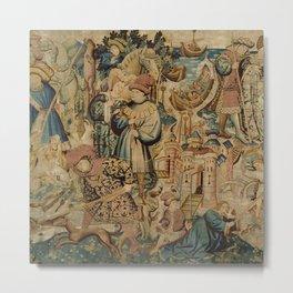 Hunting Flemish Tapestries Metal Print