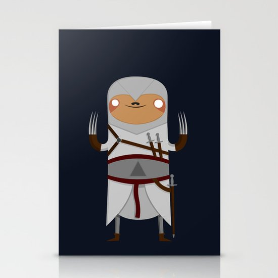 Assassin Sloth Stationery Cards