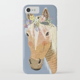 Horse with flower crown iPhone Case