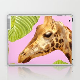 Giraffe with green leaves on a pink background Laptop & iPad Skin