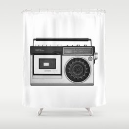 cassette recorder / audio player - 80s radio Shower Curtain