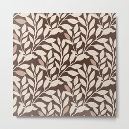 Leaves and Branches in Cream and Brown Metal Print