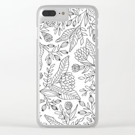 Wildflower Pattern - Black and White Clear iPhone Case