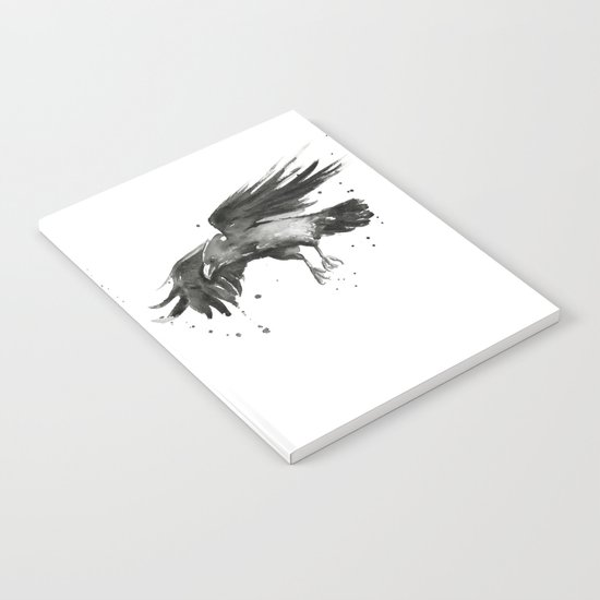 Raven Watercolor Bird Painting Black Crow Notebook
