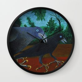 Two Crows and a Beetle Wall Clock