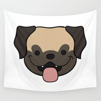 pug Wall Tapestries featuring Pug by Sugar and Spice Menagerie