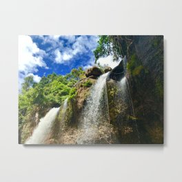 Side bottom view of the waterfall in North Eastern Thailand. Metal Print