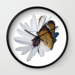 White Daisy and Meadow Brown Butterfly Vector Wall Clock