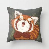 red panda Throw Pillows featuring Panda by Toru Sanogawa
